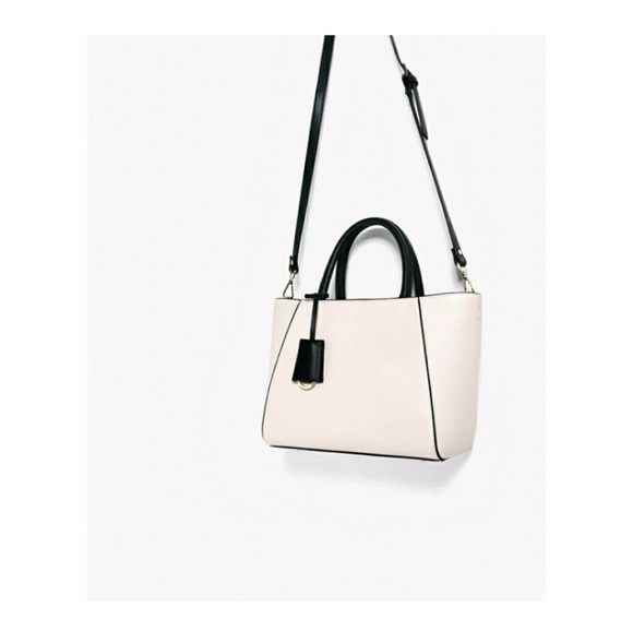 90e9f7f14f New Zara White Small Shoulder Tote Bag NWT